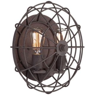 "Industrial Cage 14"" Wide Dark Rust Wall Sconce   #W7991"