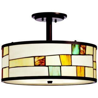 """Kichler Mihaela 15"""" Wide Art Glass Semi Flush Ceiling Light   #V8448"""