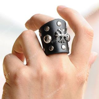 1pc Black Cowhide Cross Coin Buckle Finger Ring Mens Punk Gothic