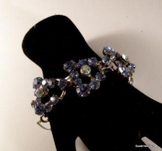 Juliana Blue & Aurora Borealis Chaton Rhinestone Bracelet Free US