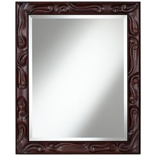 "Carved Scroll Openwork 34"" High Chocolate Brown Wall Mirror   #X0572"