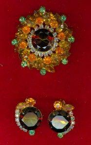Vintage Yellow Green Large Rhinestone Pin Earrings Set Julianna