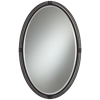 "Oberron Bronze Metal 38"" High Oval Wall Mirror   #W8236"