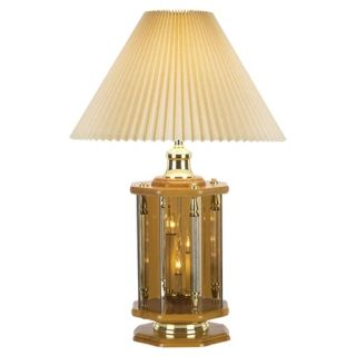 Oak and Etched Glass Retro Night Light Table Lamp   #12401