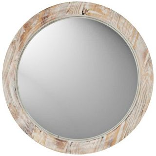 "Round 19"" Washed Wood Wall Mirror   #W1180"