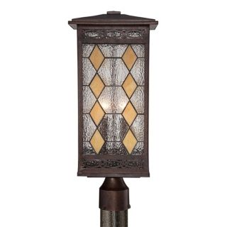 "Tiffany Style Glass 21"" High Solar Bronze Outdoor Post Light   #X4435"