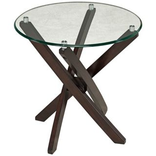 Xenia Round Wood and Glass End Table   #Y4578