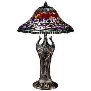 Dale Tiffany Peacock Tail Replica Art Glass Table Lamp   #X3760