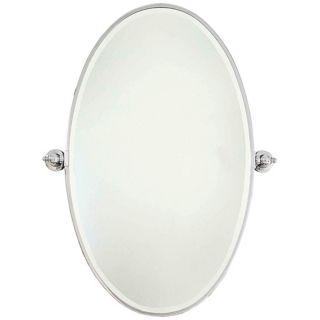"""Minka 36"""" High XL Oval Chrome Bathroom Wall Mirror   #U8969"""