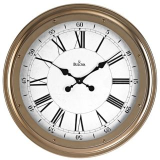 "Bulova Wingate 25"" Round Antique Gold Wall Clock   #V7795"