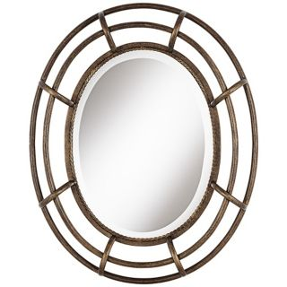 "Open Work Braid 29 1/2"" High Bronze and Gold Wall Mirror   #W4085"