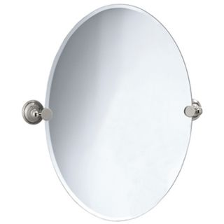 "Gatco Laurel Avenue Nickel 32"" High Oval Wall Mirror   #P5374"