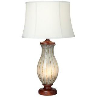 Possini Euro Off White Art Glass Night Light Table Lamp   #W2302