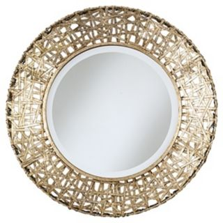 Champagne Finish Woven Metal Round Wall Mirror   #91552