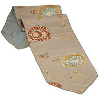 Bella Collection Fabric Floral Embroidered Table Runner   #U0100