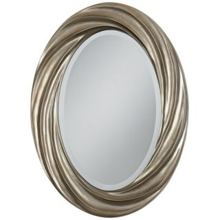 "Silver Swirl 30"" High Oval Wall Mirror   #V0430"