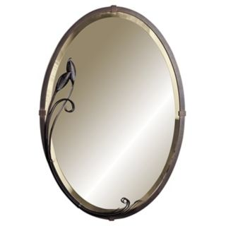 "Hubbardton Forge Metra Oval Leaf 32 1/2"" High Wall Mirror   #80572"
