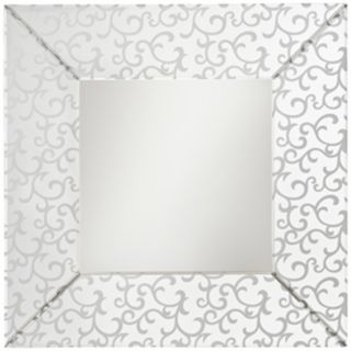 """Kichler Scroll Etched and Beveled 35 1/2"""" Square Wall Mirror   #T5138"""