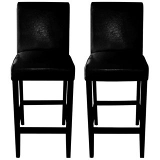 "Set of 2 Coco 30"" High Black Bicast Leather Bar Stool   #T7255"