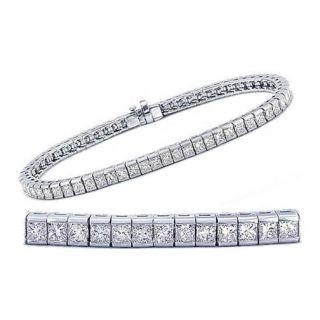 00 tcw 14k White Gold Princess Channel Set Diamond Tennis Bracelet
