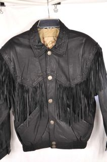 Julian Leather Jacket Sante FE Collection Fringe Indian Head Snaps S