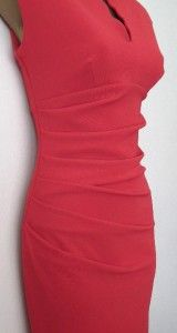 New EX Julien MacDonald 40s Vtg Red Black Split Neck Pencil Wiggle