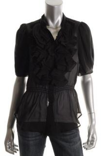 Romeo Juliet Couture Black Chiffon Ruffled Button Front Blouse Shirt