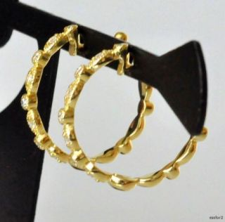 Magnificent New Jude Frances Cleopatra Yellow 18K Gold Diamond Hoop