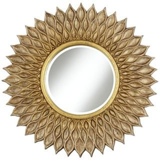 "Antique Gold Linked Loops 30"" High Round Wall Mirror   #N5824"