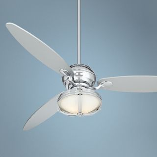 "66"" Spyder Chrome Ceiling Fan and White Glass Light Kit   #R2180 R2484 R4788"