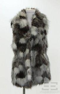 Romeo Juliet Couture Brown Grey Faux Fur Vest Size M