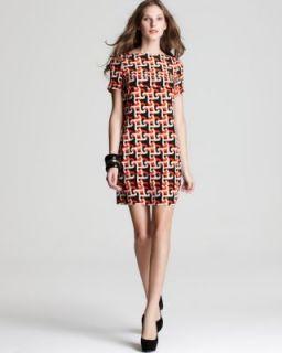 Julie Dillard New Multi Color Printed Short Sleeve Wear to Work Dress