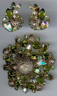 Juliana Vintage Dazzling Shades of Green Rhinestone Pin Earrings Set