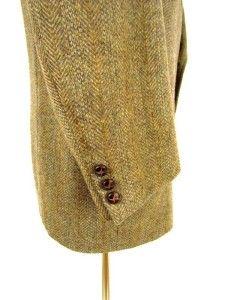 Vintage Mens Brown Herringbone Tweed Jacket Blazer Sport Coat Wool