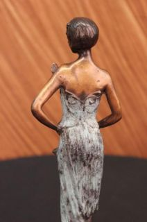 Art Nouveau Bronze Lady w Butterfly Girl Old Book End Sculpture Statue
