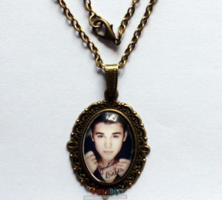 New Justin Bieber Image Charm Epoxy Necklace Bag  DXJ