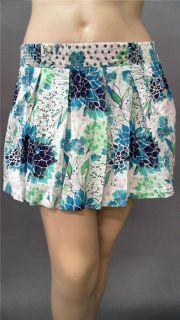 Red Camel Junior XL Sequin Full Mini Skirt Blue Floral Designer
