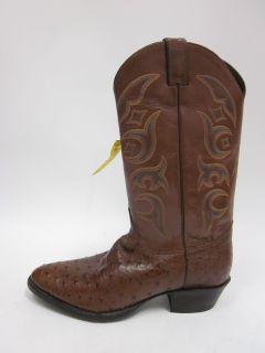 Justins Mens Dark Brown Leather Ostrich Boots Sz 10 5