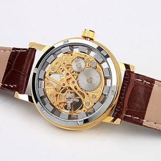 EUR € 18.39   Elegante Reloj Con Mecanismo Visto y Correa de Cuero