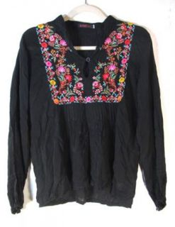 JWLA Johnny Was Womens Black Sheer Floral Embroidered Blouse Shirt Sz