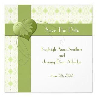 Green Heart Wallpaper Save The Date Custom Invitations