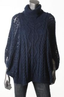 Karen Kane New Blue Cable Knit Oversized Cowl Neck Pullover Sweater M