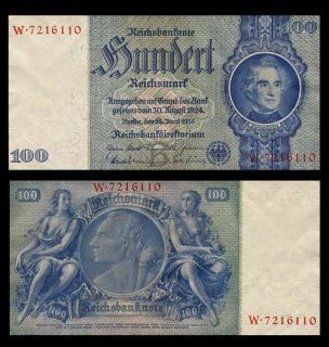 100 Reichsmark Banknote of Germany 1935 Swastika Design Pick 183 Crisp