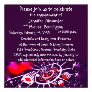 Casino Theme Engagement Party Personalized Announcement