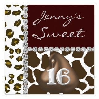 SWEET 16 Chocolate Kisses & Animal Print BLING Inv Announcement