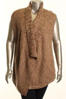 Karen Scott New Brown Marled Open Front Pull on Casual Sweater Vest