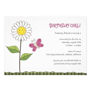 Daisy & Butterfly Girls Birthday Party Invitation