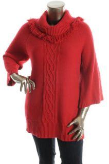 Karen Scott New Red Cable Knit Fringe Cowl Neck 3 4 Sleeve Tunic