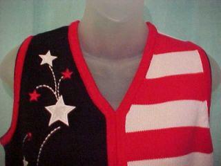 Karen Scott Star Firework American Flag Sweater Vest S