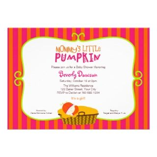 and Orange Mommys Little Pumpkin Baby Shower Personalized Invitation